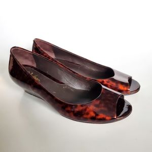 Cole Haan Tortoise Shell Peep Toe Wedges